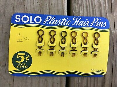 Antique Vintage Lot of 6 Brown SOLO Celluloid Plastic Hair Pins / Bobby Pins