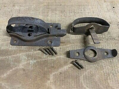 Rustic Cast Iron Shed Gate Lock Hasp Vintage Latch Antique Barn Door Hardware