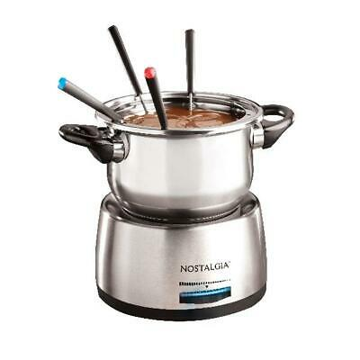 Nostalgia 6-Cup Stainless Steel Electric Fondue Pot with 6 Color Coded Forks