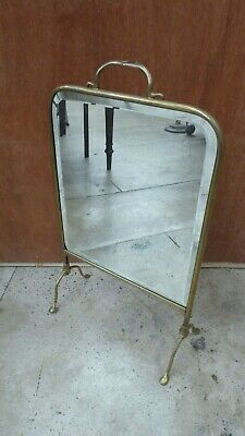 Antique Brass Frame Bevelled Mirrored Victorian Fire Screen Stand Shield