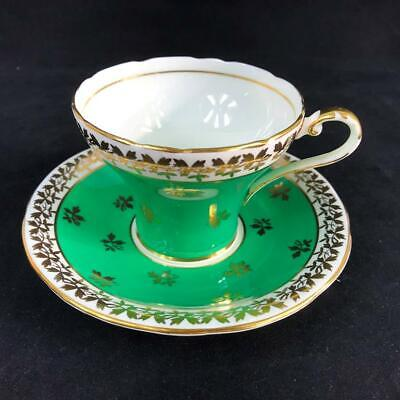 Vintage Aynsley TEA LEAF CHINTZ Corset Shaped Green Cup Saucer C880