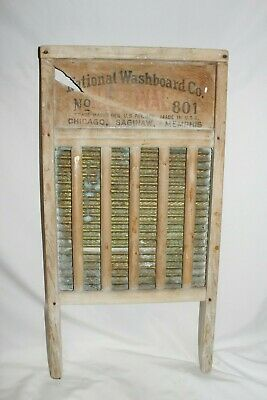 Antique Washboard Wood NATIONAL BRASS KING Laundry Room Scrub Board Primitive