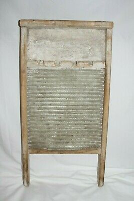 Antique Washboard Wood NATIONAL GLASS KING Laundry Room Scrub Board Primitive