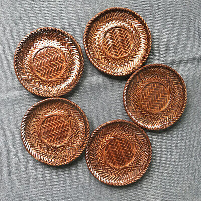 Bamboo Weaving Drink Coaster 5pc Lacquer Ware Chataku Drink Vintage Japanes