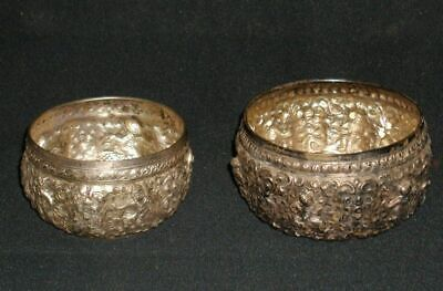 TWO Vintage Thailand Sterling Silver Repousse Water Bowls~Both Signed~357 Grams