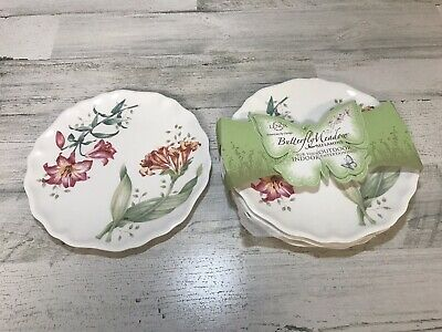"""Lenox Butterfly Meadow  9"""" Melamine Accent  Plates Plastic 856372 Set of 4 New"""