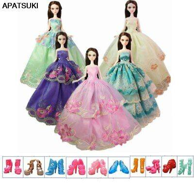 "15pcs/lot Doll Accessories For 11.5"" 1/6 Doll Outfits = 5 Wedding Dress 10 Shoes"