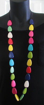 NecklaceLong Rainbow colours  strand Wooden beads,  Bright Multi colour Fashion
