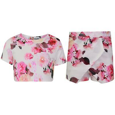 Girls Tops Flowers Print Crop Top & Skort Skirt Shorts 2 Piece Summer Outfit Set