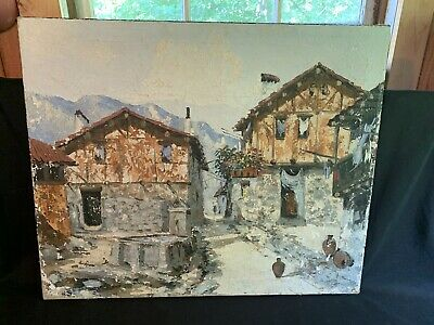Unsigned Village. Original Oil on Canvas MOUNTAIN Landscape PAINTING House