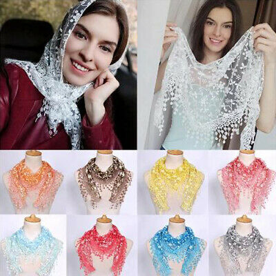 Women Lace Scarf Shawl Triangle Hollow Tassel Scarf Shawl Wrap Multicolor Fashio