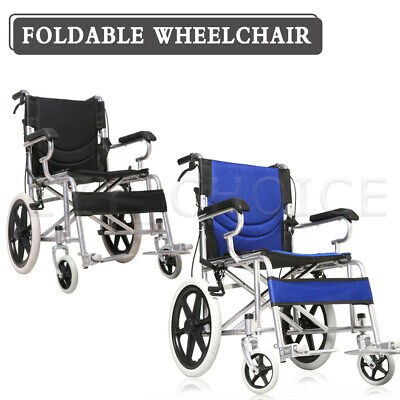 "16"" Solid wheel Folding Wheelchair Manual Mobility Aid Brakes Light Weight"