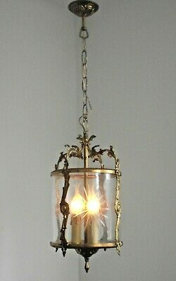 Antique French Rococo Bronze Ornate Starburst Round 3 Light Hall Lantern 1412