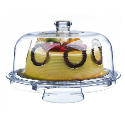 5 In 1 Multifunctional Clear Cake Stand&Dome Lid Salad Bowl Food Keep Fresh Box