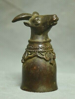 6.5CM Folk Chinese Old Bronze Dynasty Sheep Goat Head Wine Pot wineglass