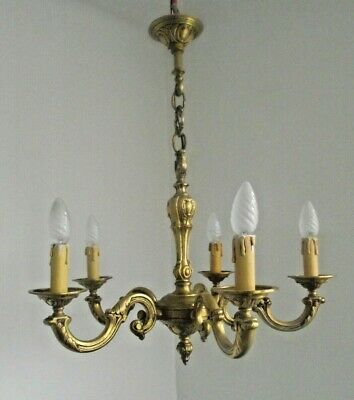 French Antique Heavy Bronze 5 Arm Acanthus Leaf Traditional Chandelier 1413