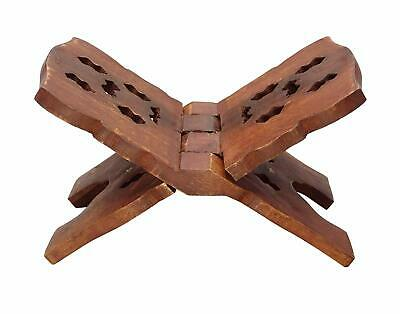 Wooden Carved Book Stand Adjustable Brown Rehal Holy Book Reading Holder BST23