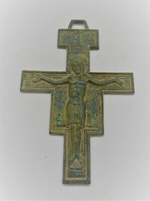Rare Ancient Byzantine Bronze Wall Hanger Depicting Jesus On Cross