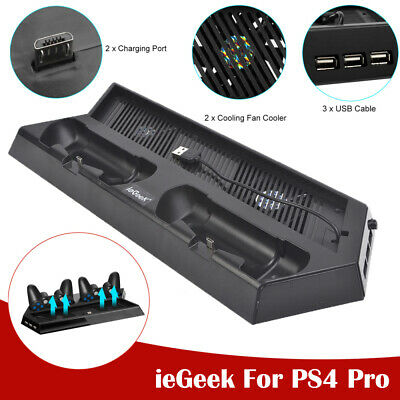 Vertical Stand for PS4 Pro Controller PS4 Cooling fan Dual Charging Stations AU