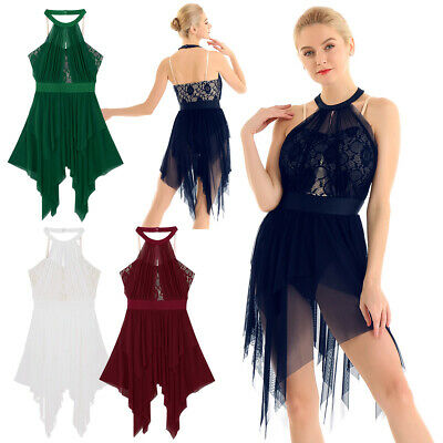 Women's Lace Lyrical Latin Ballet Dance Dress Leotard Skating Costume Dancewear