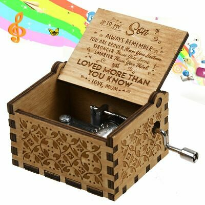 To My Son Loved More Than You Know - Retro Wooden Hand Crank Engraved Music Box
