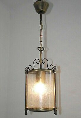 Small French Antique Bronzed Effect Metal Round Bubble Glass Hall Lantern 1416