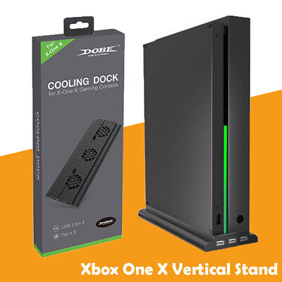 Xbox One X Vertical Stand & 3 USB Cooling Fan Dual Controllers Charging Station