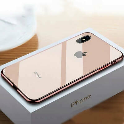 For iPhone Xs Max XR X 7 8 6s Plus Tempered Glass Plating Slim Hard Case Cover