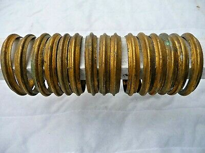 Antique French X15 Heavy Solid gilt brass Curtain Pole Rings Very Good Quality