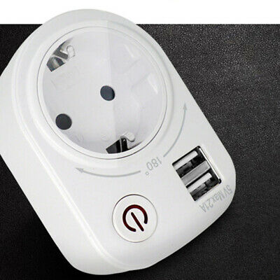 Multi-function Plug Socket Outlet 2.1A Dual USB Port Wall Charger Power Adapter