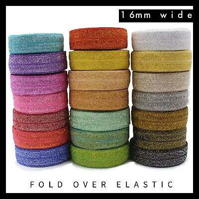 "Glitter Thread Metallic Fold Over Elastic FOE 5/8"" 16mm per metre"