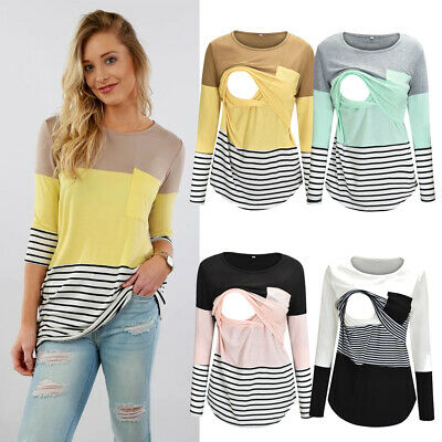 AU Women Pregnant Tee Maternity Nursing Tops Breastfeeding Loose Blouse T-Shirt