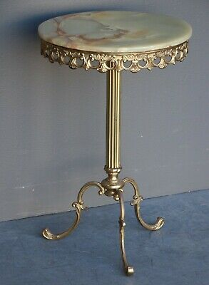 Ornate vintage brass marble wine table gilt rococo base rare antique onyx top