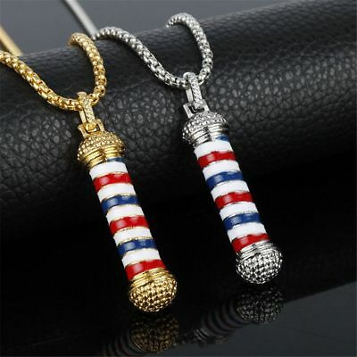 Creative Barber Shop Pole Barbers Rotating Light Women Pendant Chain Necklace