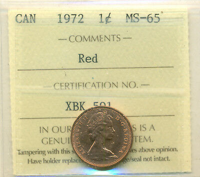 1972 and 1974 Canada Small Cent ICCS MS-65 Red