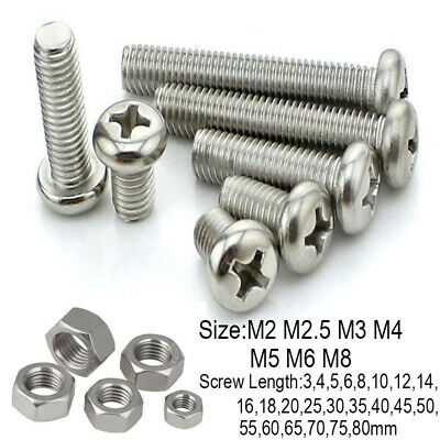M2 M2.5 M3 M4 M5 M6 M8 Cross Phillips Round Screw Nut Pan Bolt Stainless Steel