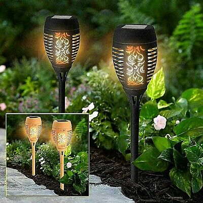 Solar Dancing Flame Torch Stake Light Led Flickering Lights Outdoor Garden Lamp
