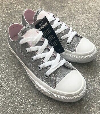 Converse Girls Kids wolf grey/silver trainers shoes size uk 11 euro 28.5 bnib