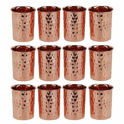 12 Handmade Hammered Copper glass Cup Tumbler Drinking Water UK SELLER