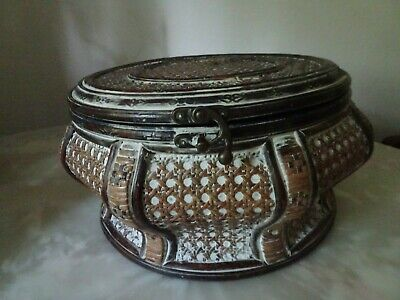 Vintage Chinese Hand made Wood domed Rice bucket/Wedding Basket/wooden ware
