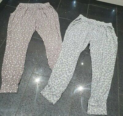 Girls Next 11- 12 Yr Grey Bird & Animal Print Trousers Cotton Elasticated Waist