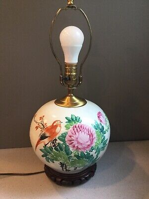 """Antique Chinese Painted Bird Calligraphy Pottery Elecrified Table Lamp Works 20"""""""