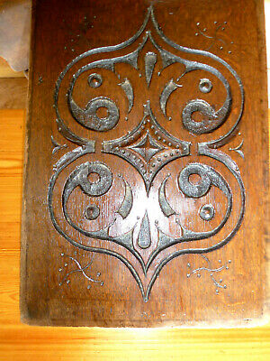 Antique 17th century West Country double heart deeply carved oak panel