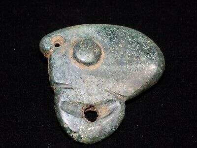 Pre-Columbian Blue Jade Toucan Carved Pendant Bead, Very Rare, Authentic