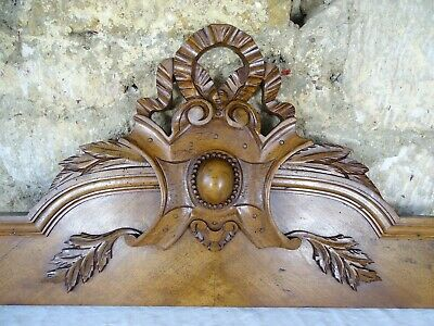 "38."" Antique French Carved Wood Architectural Pediment Panel Walnut Ribbon"