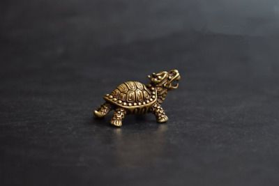 China Old Collectibles Pure brass dragon turtle small statue