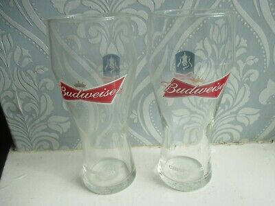 2 X BUDWEISER CRISP COLD PINT GLASSES WITH BOWTIE LOGO