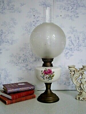 Beautiful Vintage French Ceramic Brass & Glass Floral Oil Lantern Lamp 1421