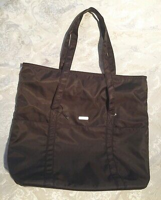 BAGALINNI Brown Expandable Shoulder Tote Weekend Travel Packable Shopping Bag L