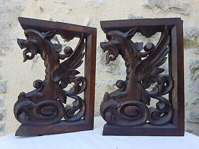 Antique French:Rare pair of pedestals/statues in solid oak,19th,Carved /griffins
